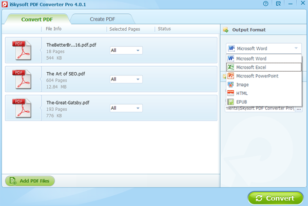iSkysoft PDF Converter Pro is a powerful PDF converting software to convert native and scanned PDF to Word, Excel, PPT, EPUB, Plain text, images and more.