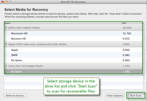 Jihosoft File Recovery for Mac is an app designed to help you recover deleted or lost photos, videos, audios and other documents on Mac.