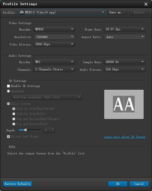 Customize video and audio parameters