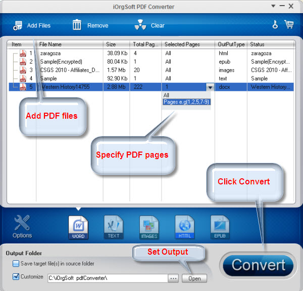iOrgsoft PDF Converter is a smart programme that can convert Adobe PDF document into a Word, Image, Text, Html&Epub with fast conversion speed and keep original quality on windows xp/vista/7/8/8.1/10