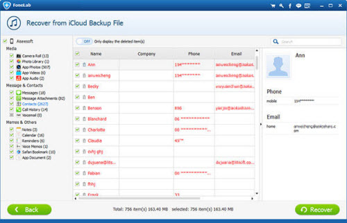 Recover from iCloud backup file
