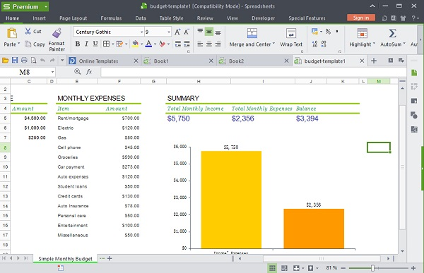 spreadsheets screen